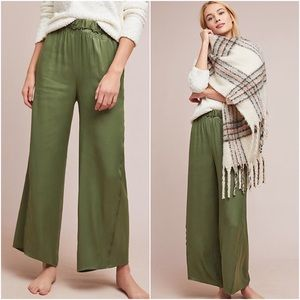 Anthropologie Silky Wide Leg Olive Green Pants M